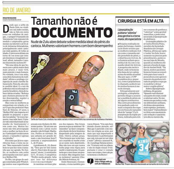 Selfie do Zulu abre debate sobre o tamanho ideal do pênis do carioca. Mulheres valorizam mais o desempenho